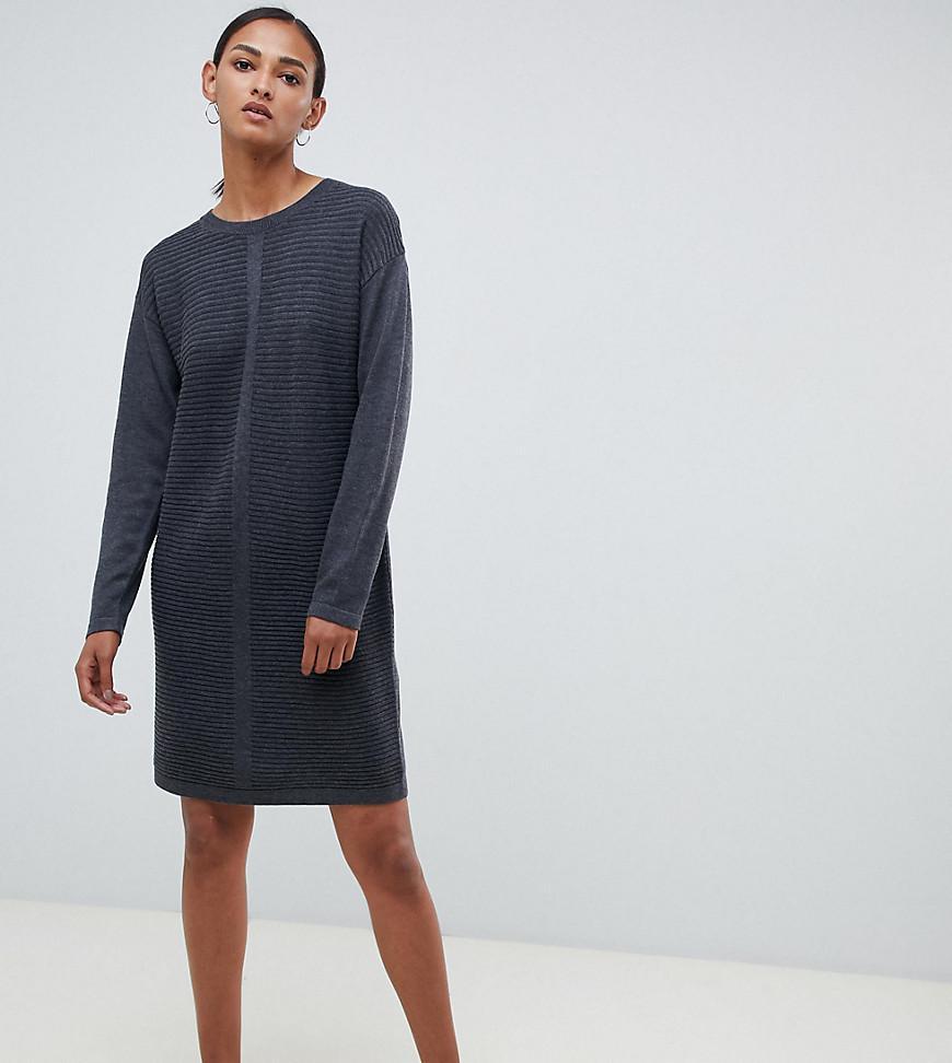 8ec2272543c Lyst - ASOS Asos Design Tall Eco Knitted Mini Dress In Ripple in Gray