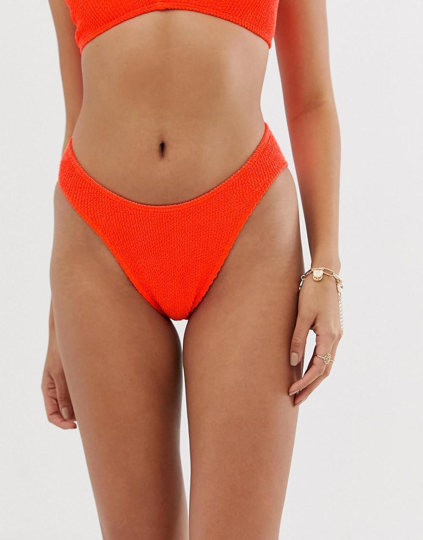 fb4bdfcbe1828 ASOS. Women's Mix And Match Crinkle High Leg Hipster Bikini Bottom In Neon  Orange