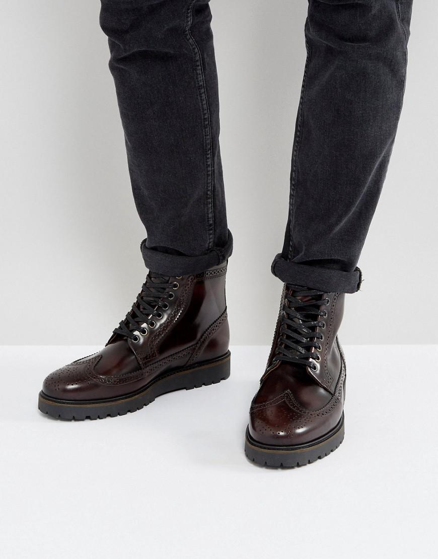lyst fred perry x george cox creeper mid leather boots. Black Bedroom Furniture Sets. Home Design Ideas
