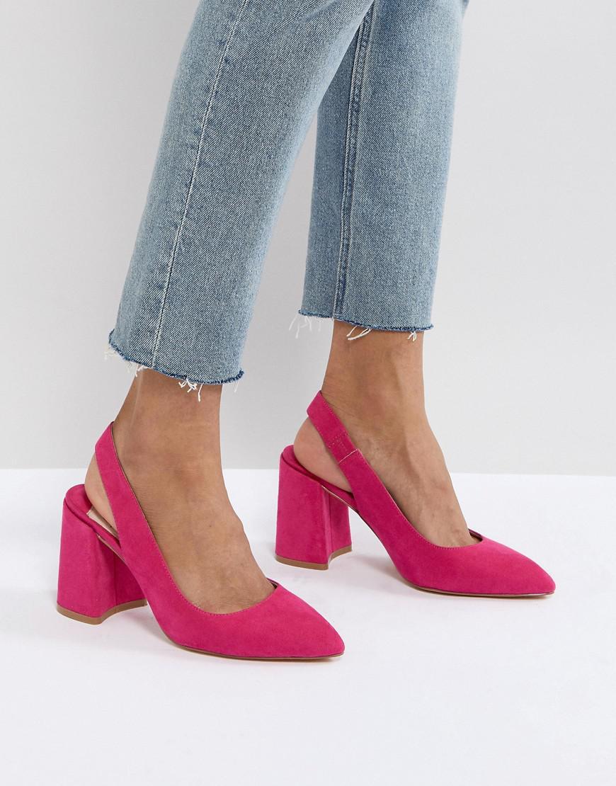 8f1904240c9 Faith Pink Chunky Slingback Block Heeled Shoes