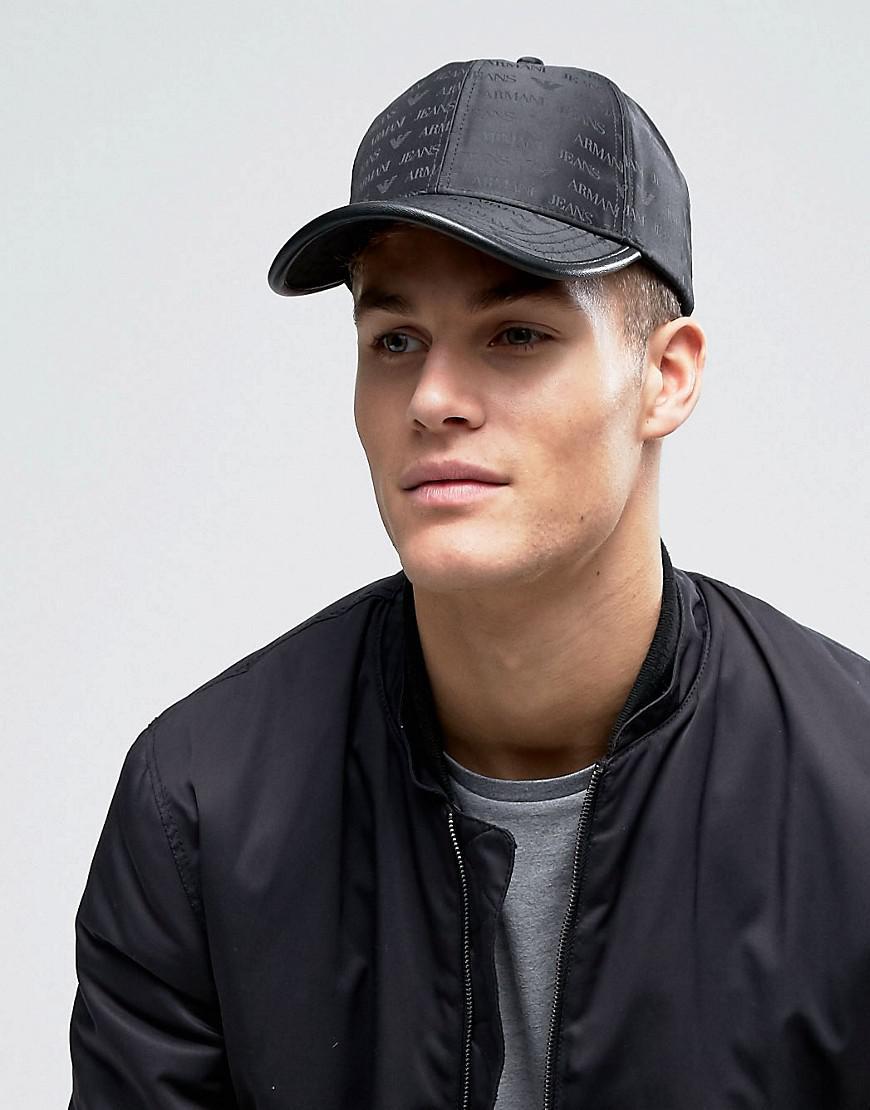 c3ddcfcad Armani Jeans All Over Logo Baseball Cap In Black for men