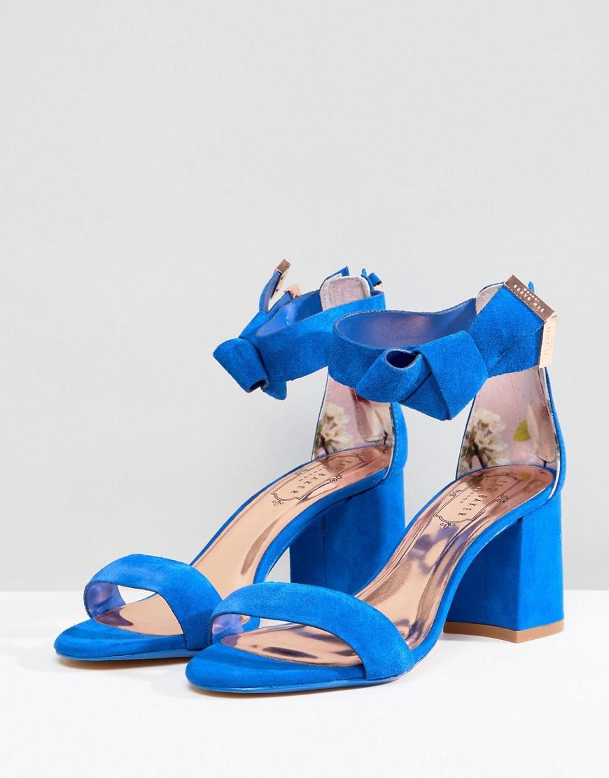 c772688689f9 Ted Baker Kerrias Blue Suede Cobalt Block Heel Sandal in Blue - Lyst