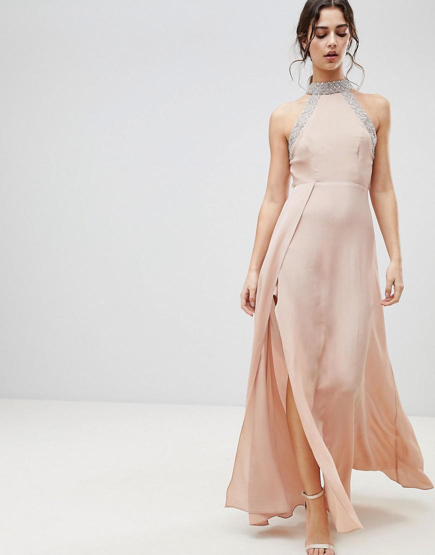 55a766407ba8 ASOS Asos Embellished Trim Backless Maxi Dress in Pink - Lyst
