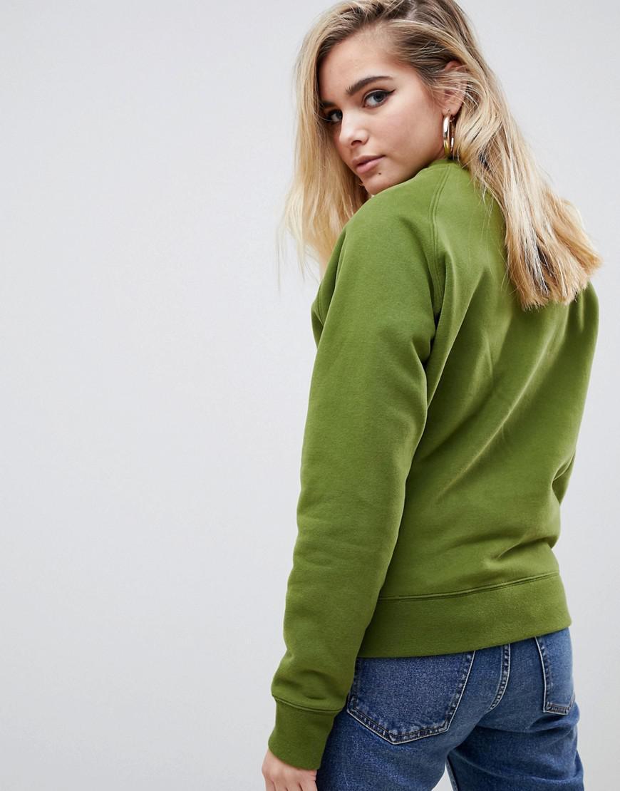 8d0aaf88e716 Fila Relaxed Boyfriend Sweatshirt With Woven Chest Logo in Green - Lyst