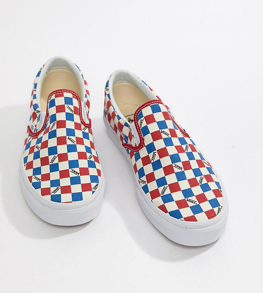 495600a21769 ... Checkerboard Slip-on Plimsolls In Red Exclusive At Asos for Men. View  fullscreen