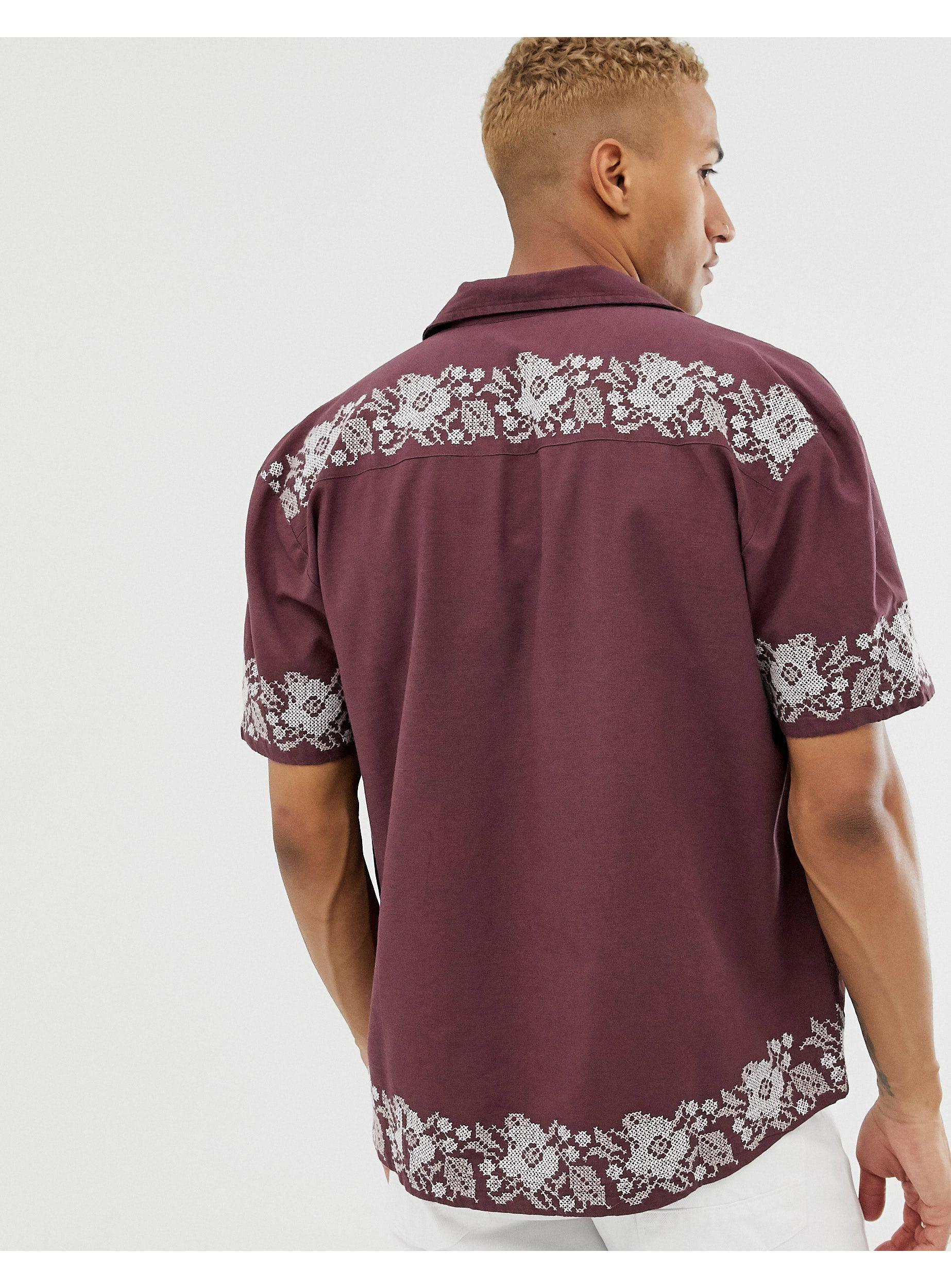 ASOS Regular-fit Overhemd Met Geborduurde Bloemen in het Rood voor heren