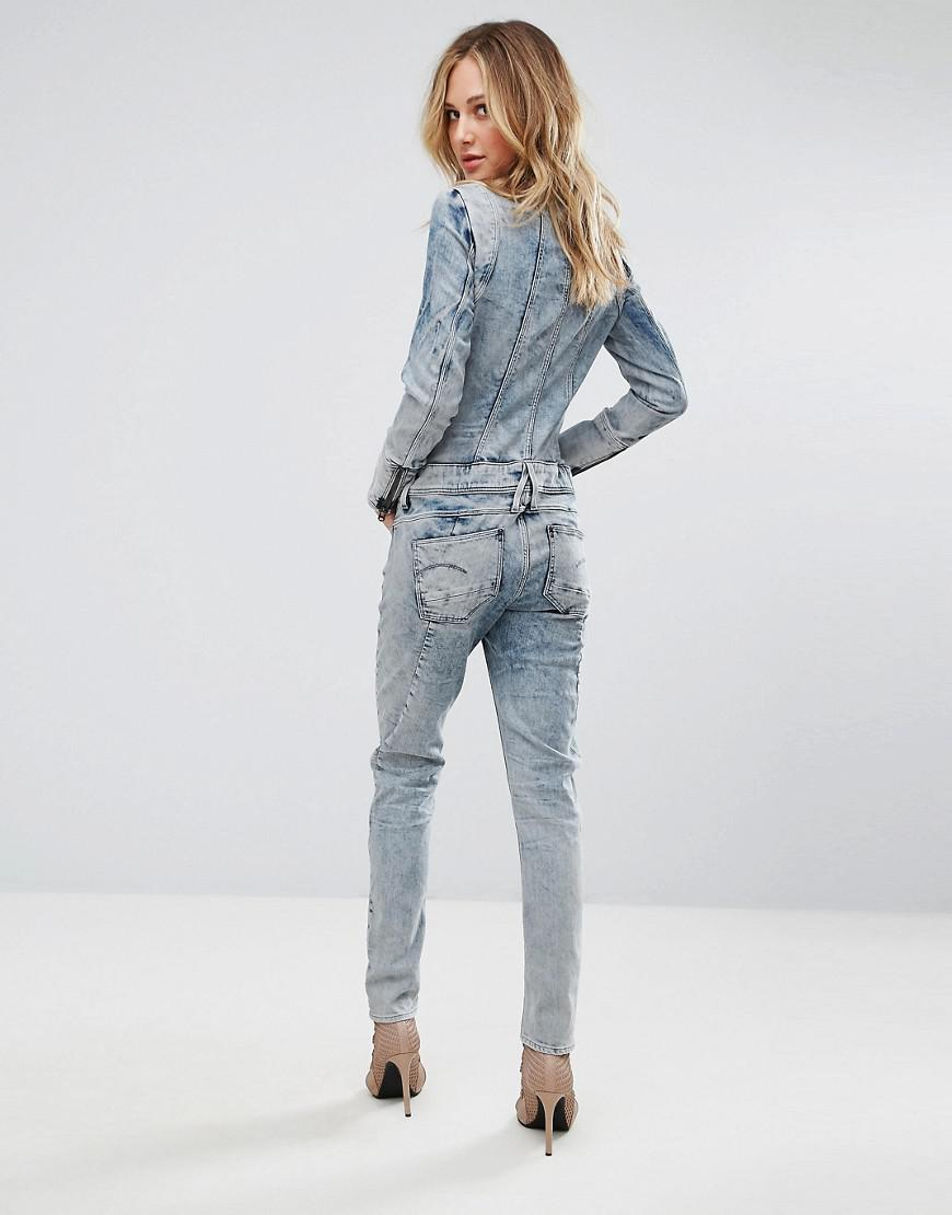 9a6a9bd4a90 Lyst - G-Star RAW Lynn Jet Suit Bleached Denim Jumpsuit in Blue