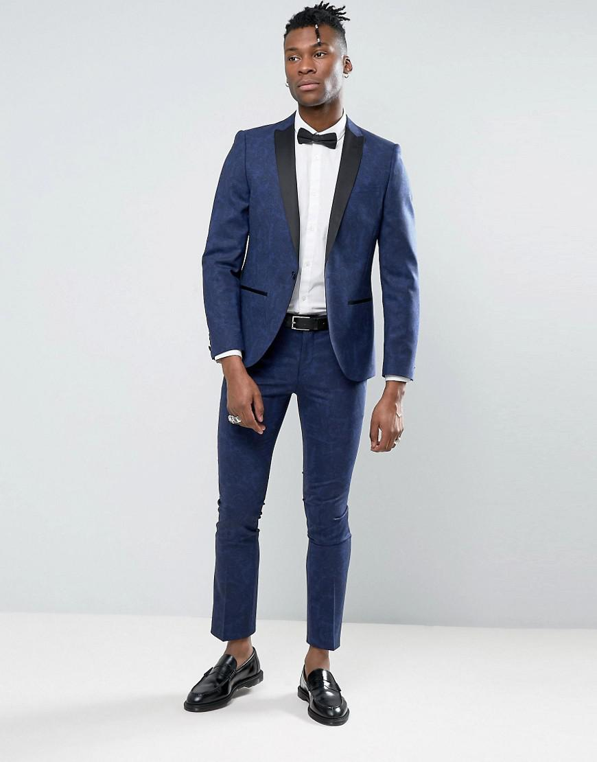 Noose And Monkey Synthetic Super Skinny Tuxedo Suit Jacket In Paisley in Blue for Men