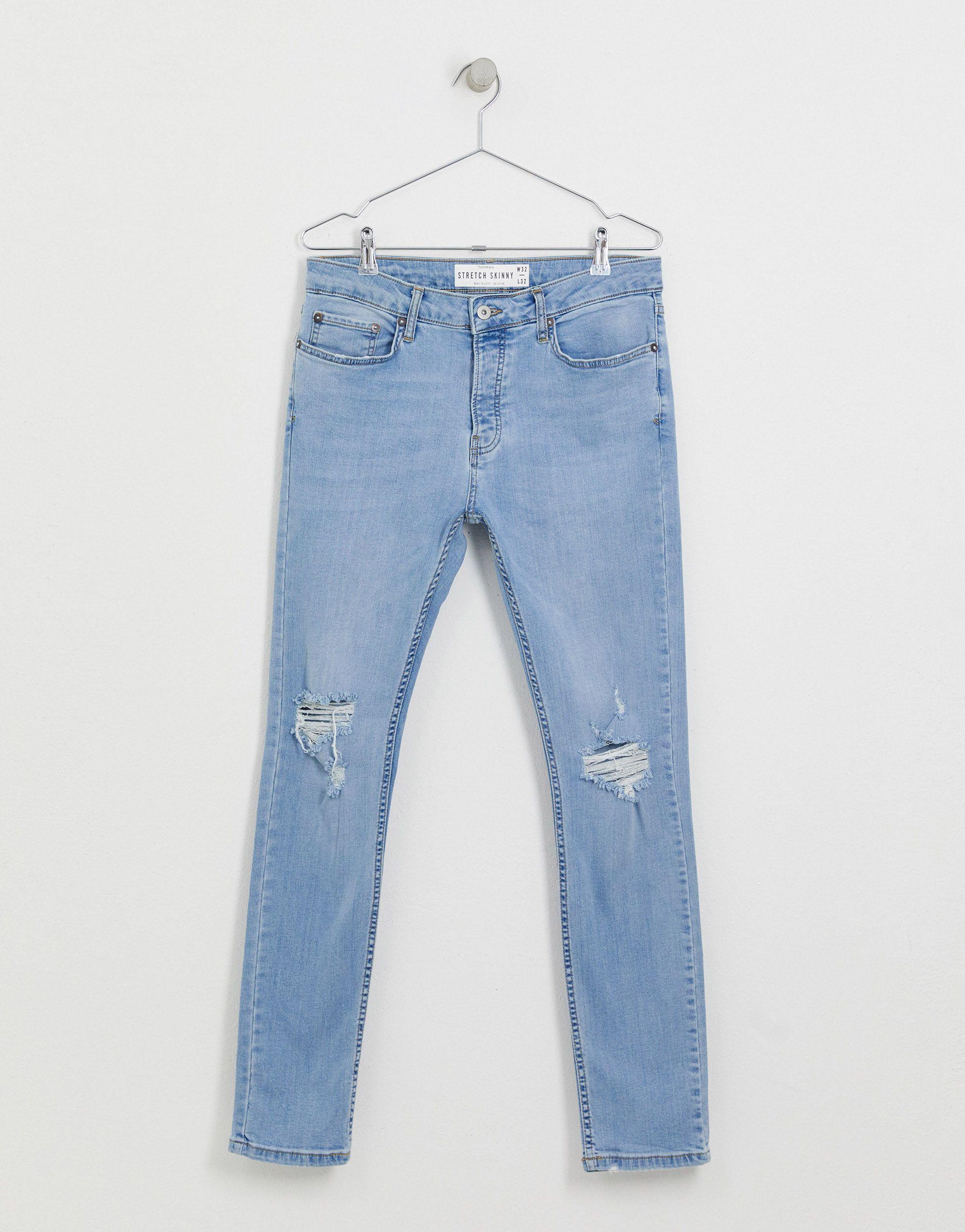 TOPMAN Denim �?Sehr enge Jeans mit Rissen in Blau für Herren cy5UP