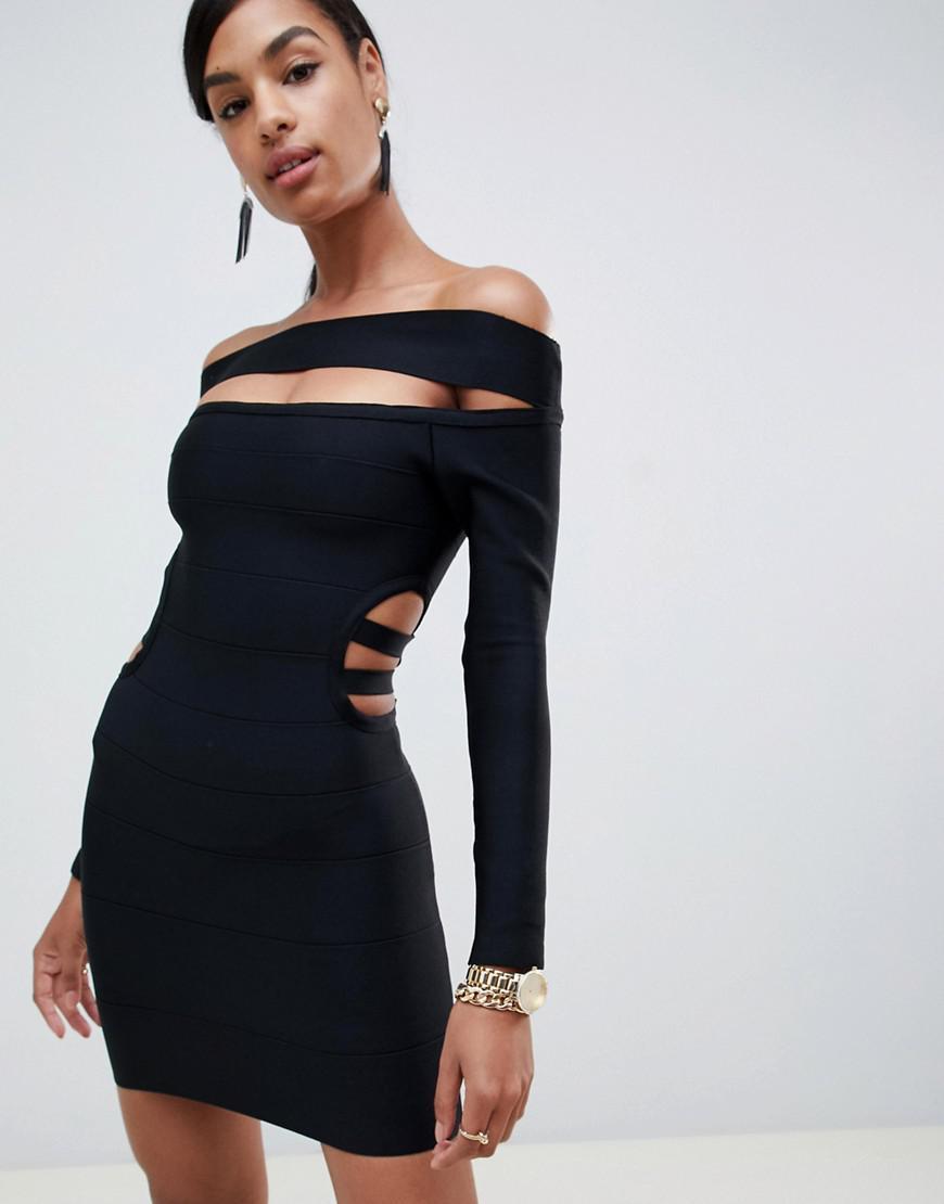 a23966e5ec90 Lyst - ASOS Off Shoulder Bardot Mini Bandage Dress With Cut Out in Black