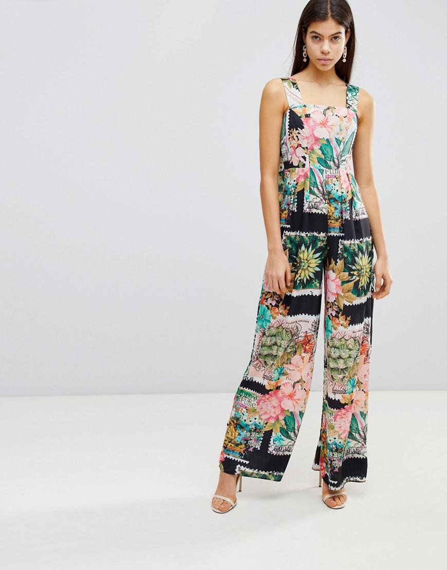 Square Neck Jumpsuit in Postcard Print - Multi Asos Tall Pay With Visa Sale Online Buy Online Cheap qNIHuBYv