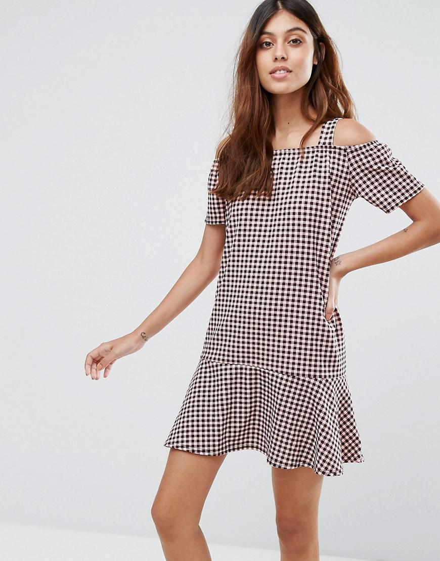 Gingham Dress With Cold Shoulder And Ruffle Hem - Pink/black Daisy Street Sb21zRvg