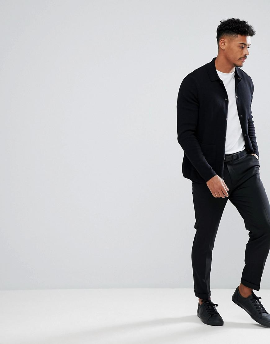 ASOS Cotton Collared Cardigan With Matte Poppers in Black for Men