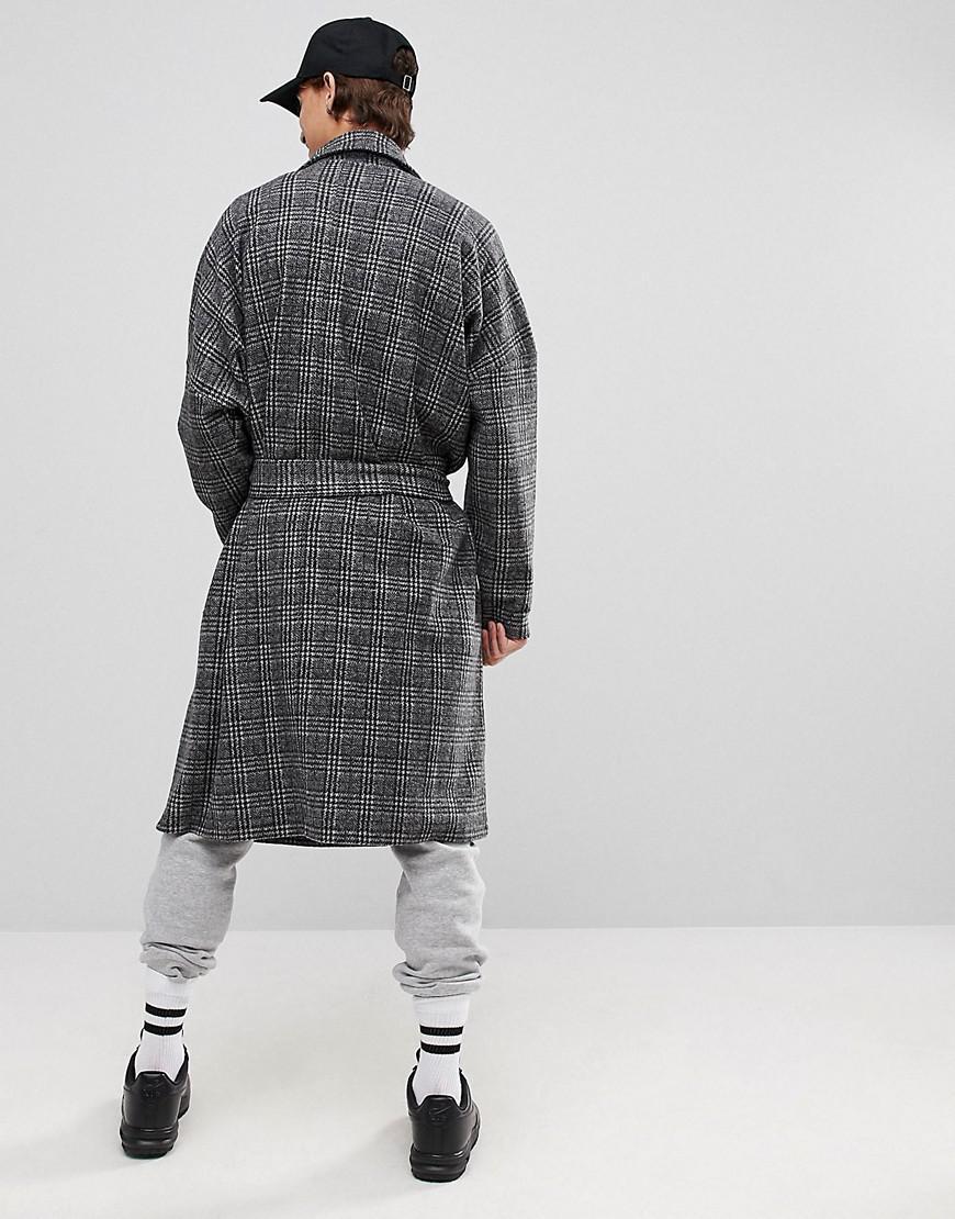 ASOS Asos Extreme Oversized Super Longline Checked Fleece Duster Jacket in Grey (Grey) for Men