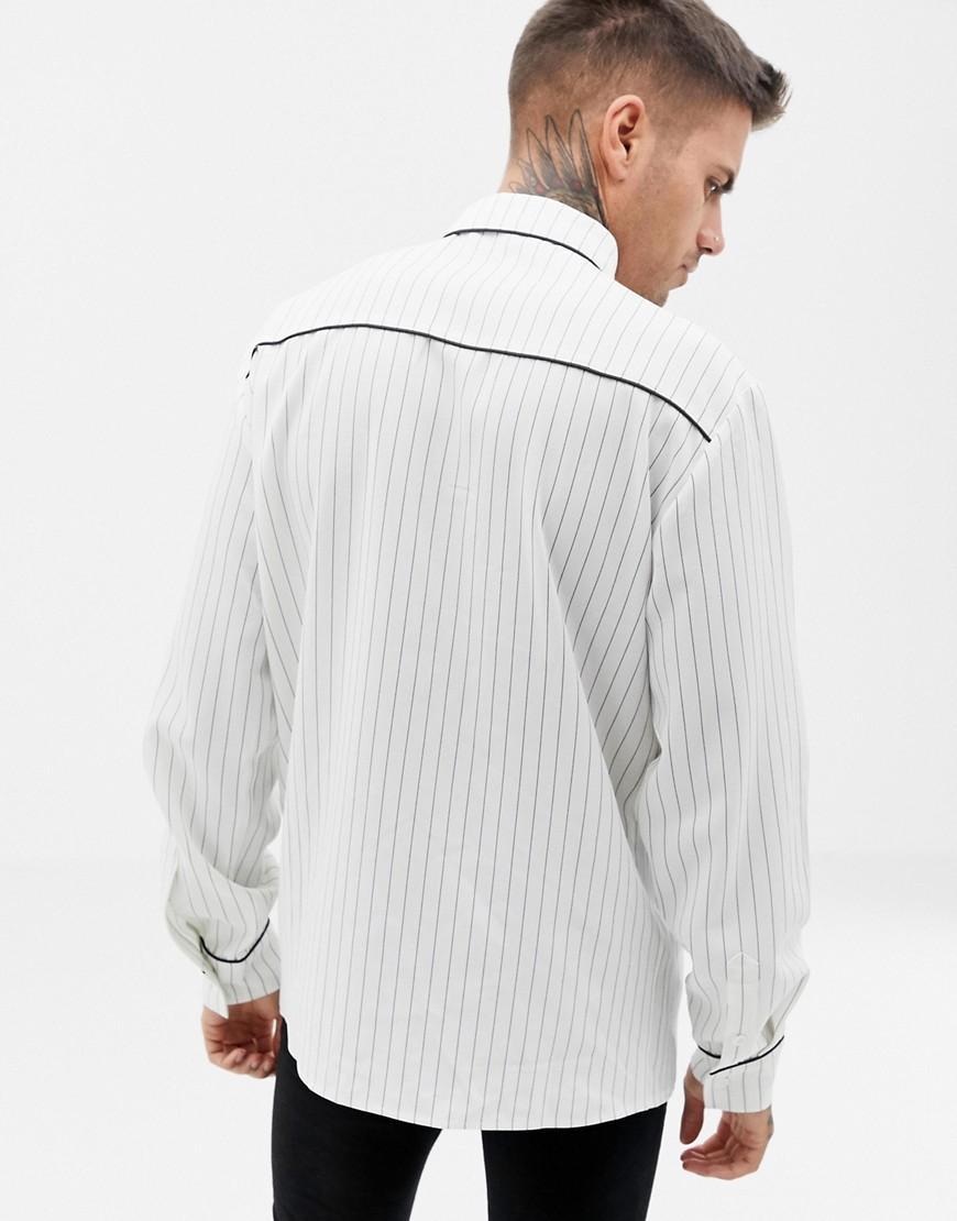 BoohooMAN Denim Regular-fit Overhemd Met Bies En Witte Strepen in het Wit voor heren