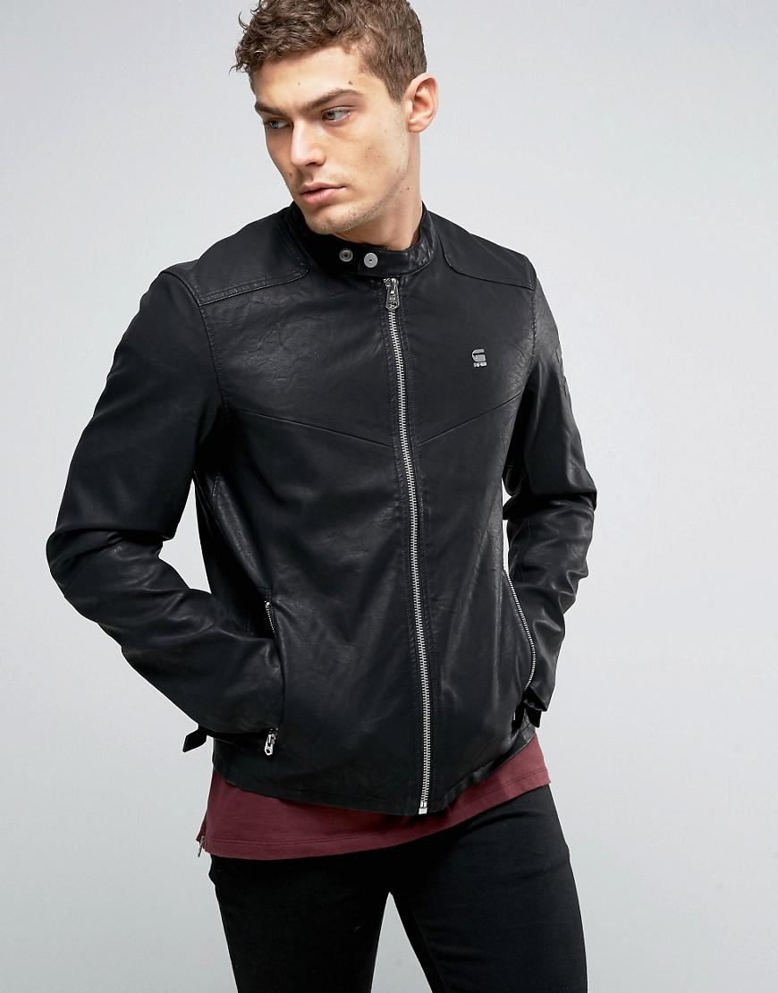 G Star Raw Avier Pu Leather Jacket In Black For Men Lyst