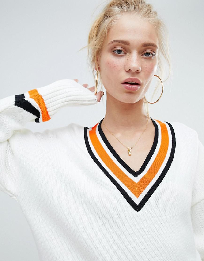 Hot Sale For Sale Outlet Classic DESIGN jumper in oversize with tipping - Cream Asos Cheap Best Sale Shopping Online Sale Online 100% Original Online qBBelhO7Pd
