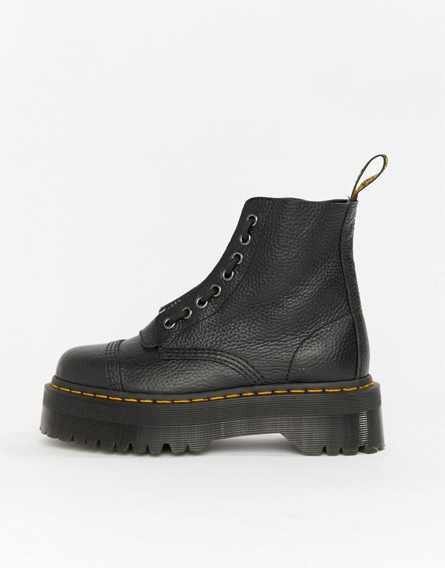 Sinclair Martens Zip Flatform Dr Leather Black Boots Chunky