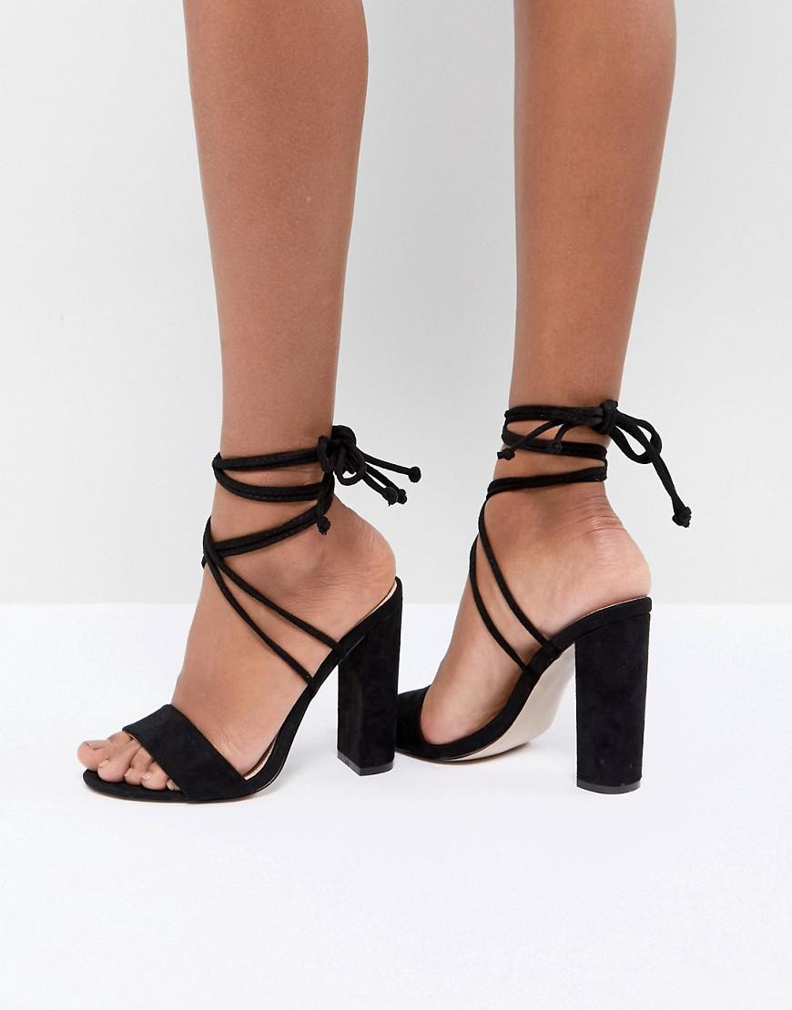 93557a8b52f Public Desire Suzu Black Tie Up Block Heeled Sandals in Black - Lyst