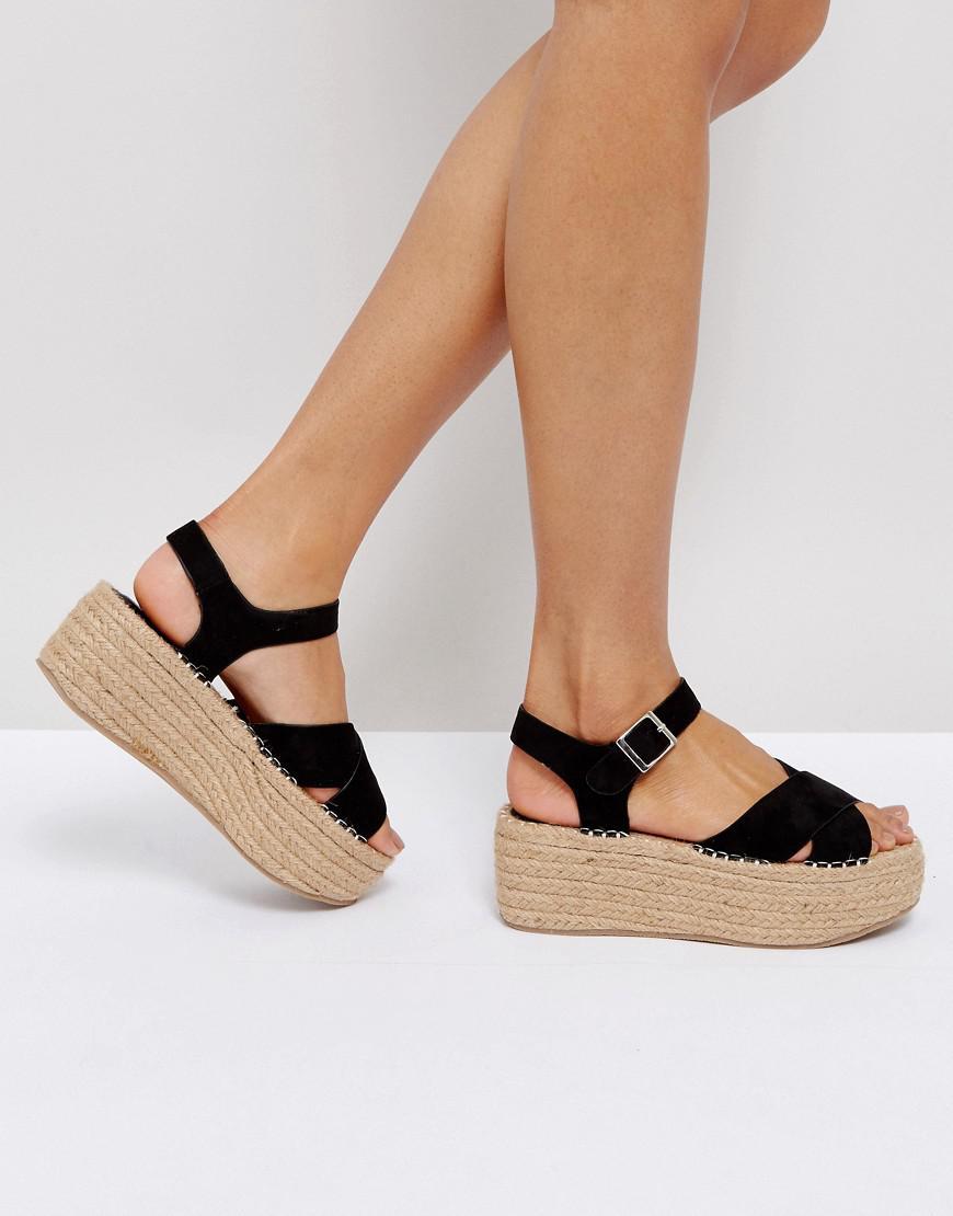 fd54ac1ad0015 Boohoo Black Espadrille Platform Sandal