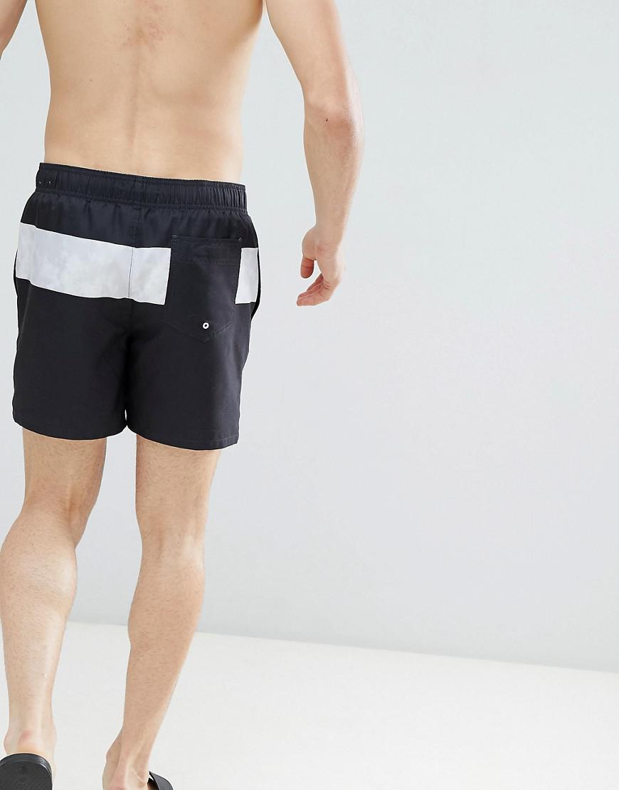 7bab55b7c876 Lyst - Hollister Core Guard Mid Stripe Print Swim Shorts Seagull Logo In  Black in Black for Men