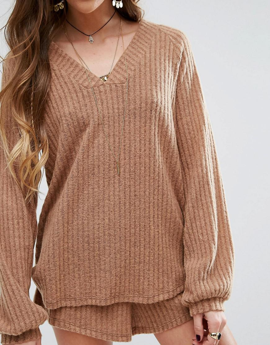 Honey punch Chunky Ribbed Sweater Co-ord in Natural | Lyst
