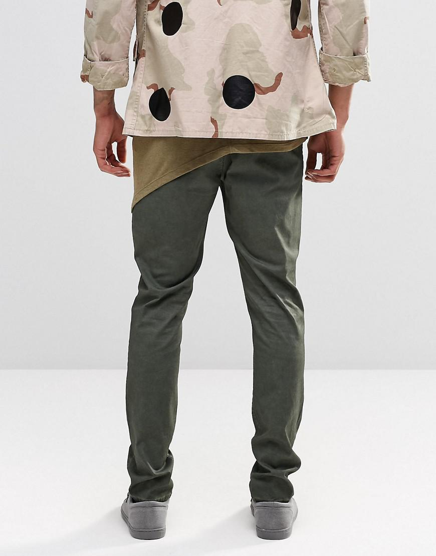ASOS Skinny Chinos With Oil Wash In Green for Men