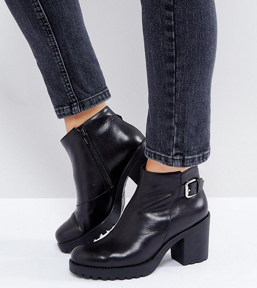 5cba5d1dc2c1 Lyst - Vagabond Grace Buckle Detail Black Chunky Leather Ankle Boots ...