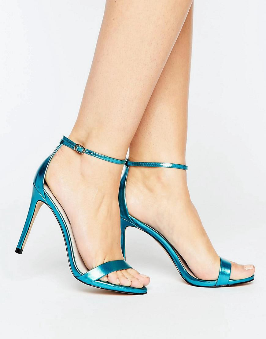 bae534090f0 Lyst - Steve Madden Stecy Metallic Blue Barely There Heeled Sandals ...