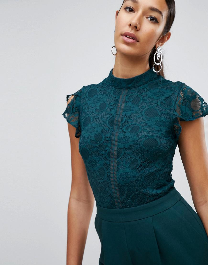 79b14c32e13 Lyst - ASOS Lace Top Jumpsuit in Green