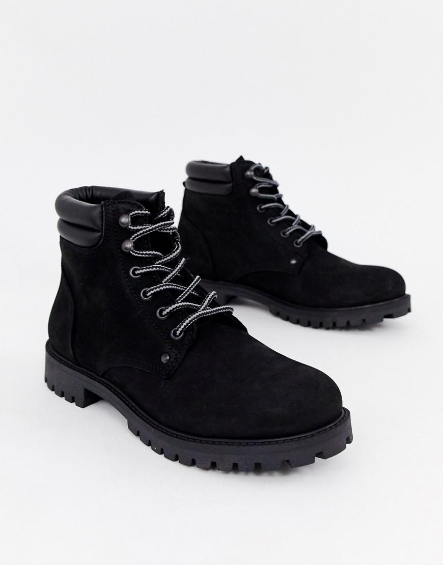 Lyst - Jack   Jones Lace Up Nubuck Boots in Black for Men fecb7f197