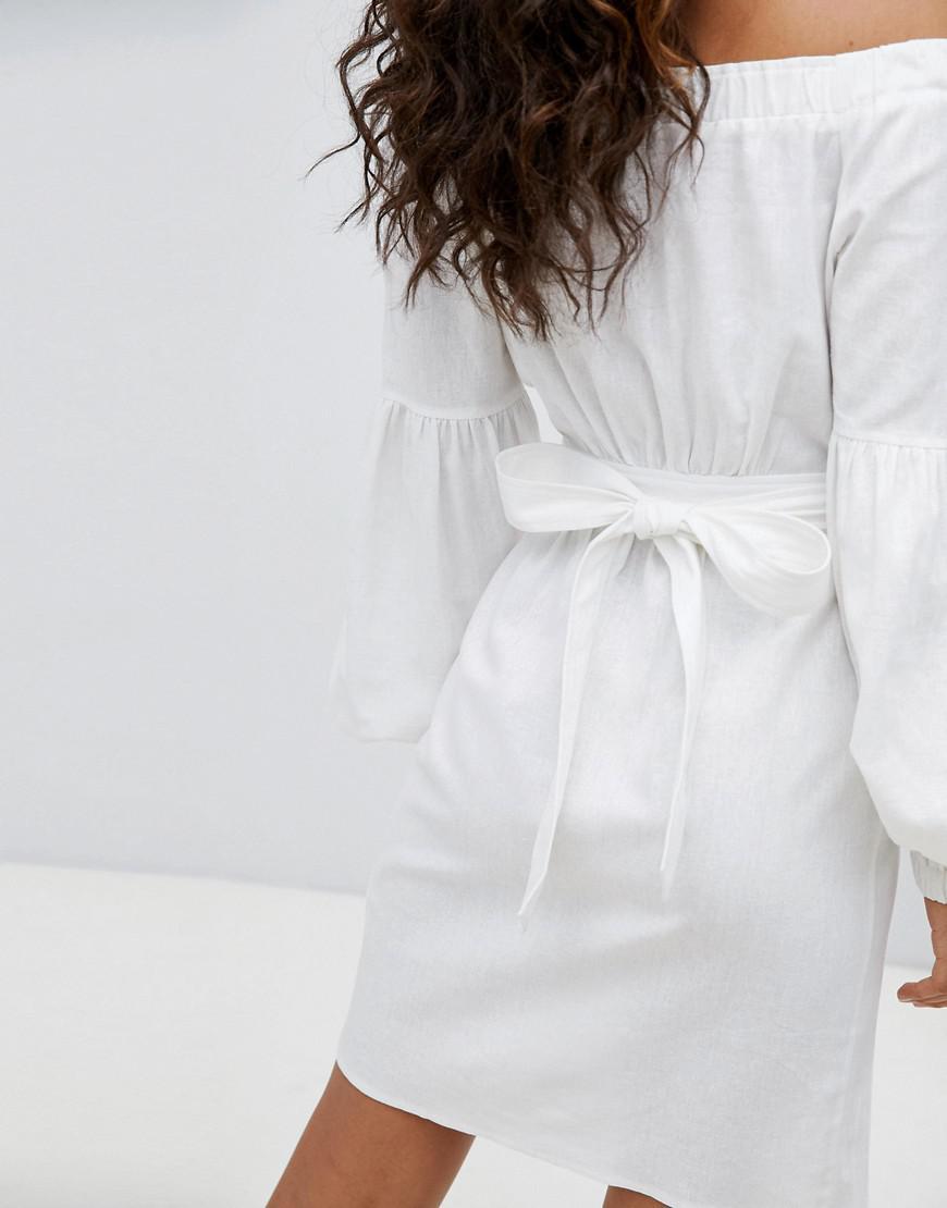 ASOS DESIGN Tall Off Shoulder Linen Mini Dress With Belt Detail - White Asos Tall j0ykiehuT