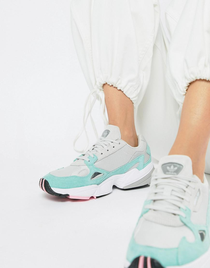 Lyst Adidas Originals Falcon Sneaker In Gray And Mint In Gray