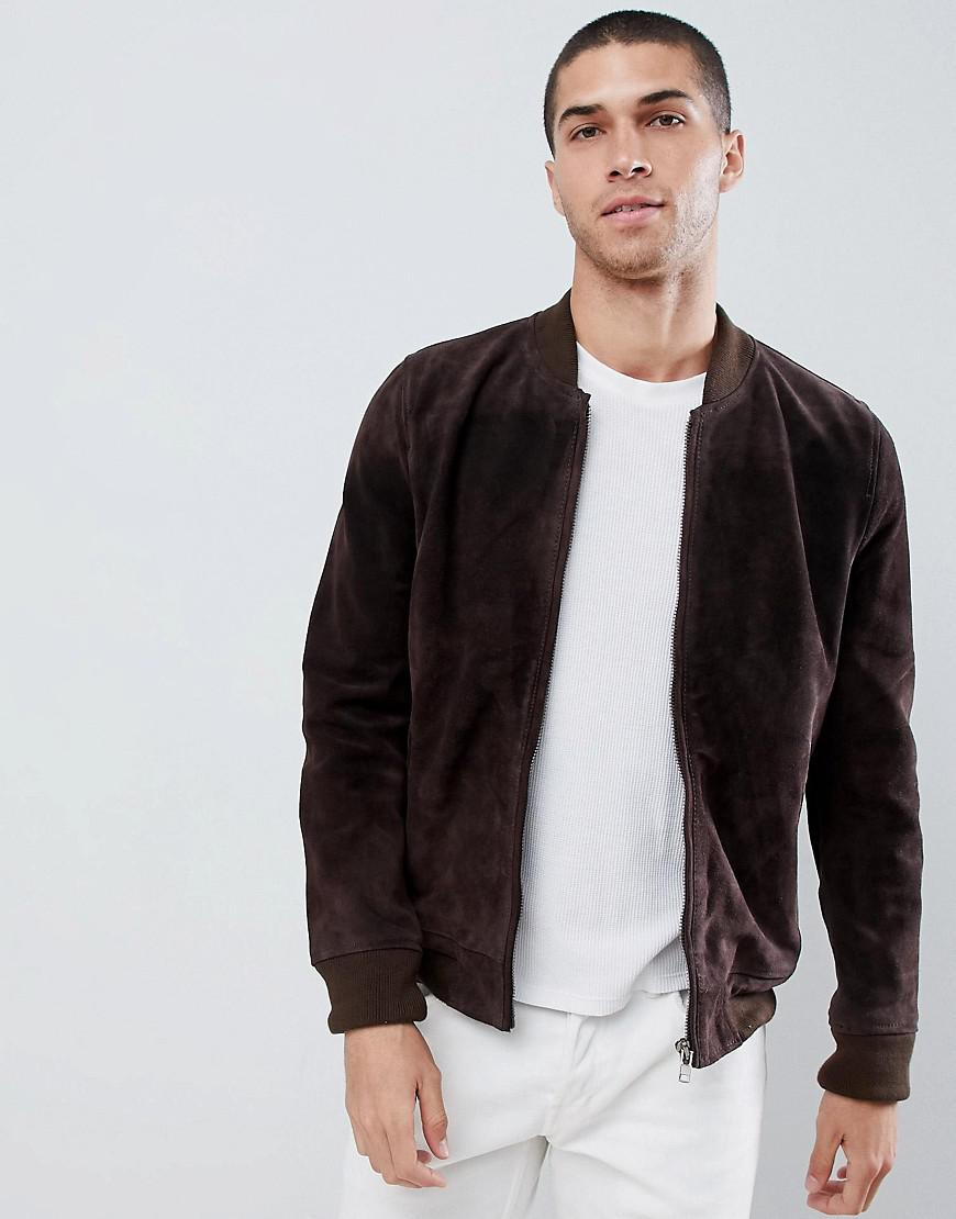 2e98357289a Bellfield Suede Bomber Jacket in Brown for Men - Lyst