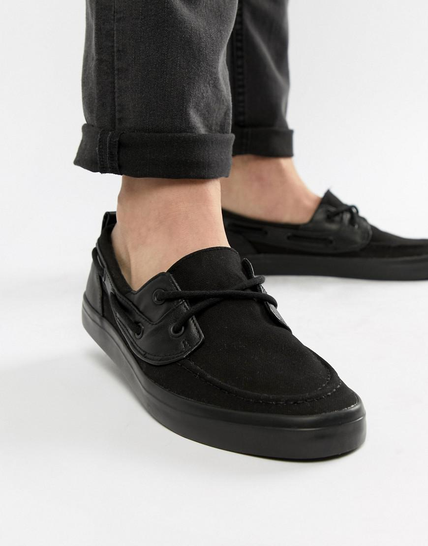 suitable for men/women good reputation great variety models ASOS Canvas Wide Fit Boat Shoes In Black for Men - Lyst