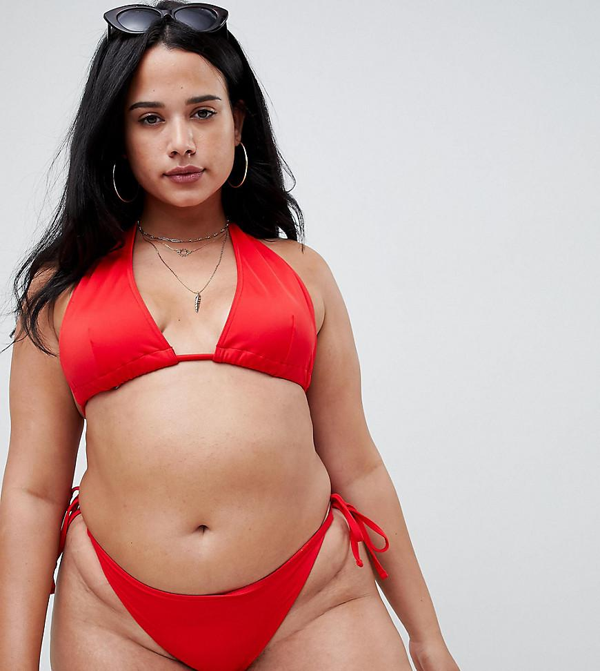 6479b140dcb ASOS Asos Design Curve Recycled Triangle Bikini Top in Red - Lyst