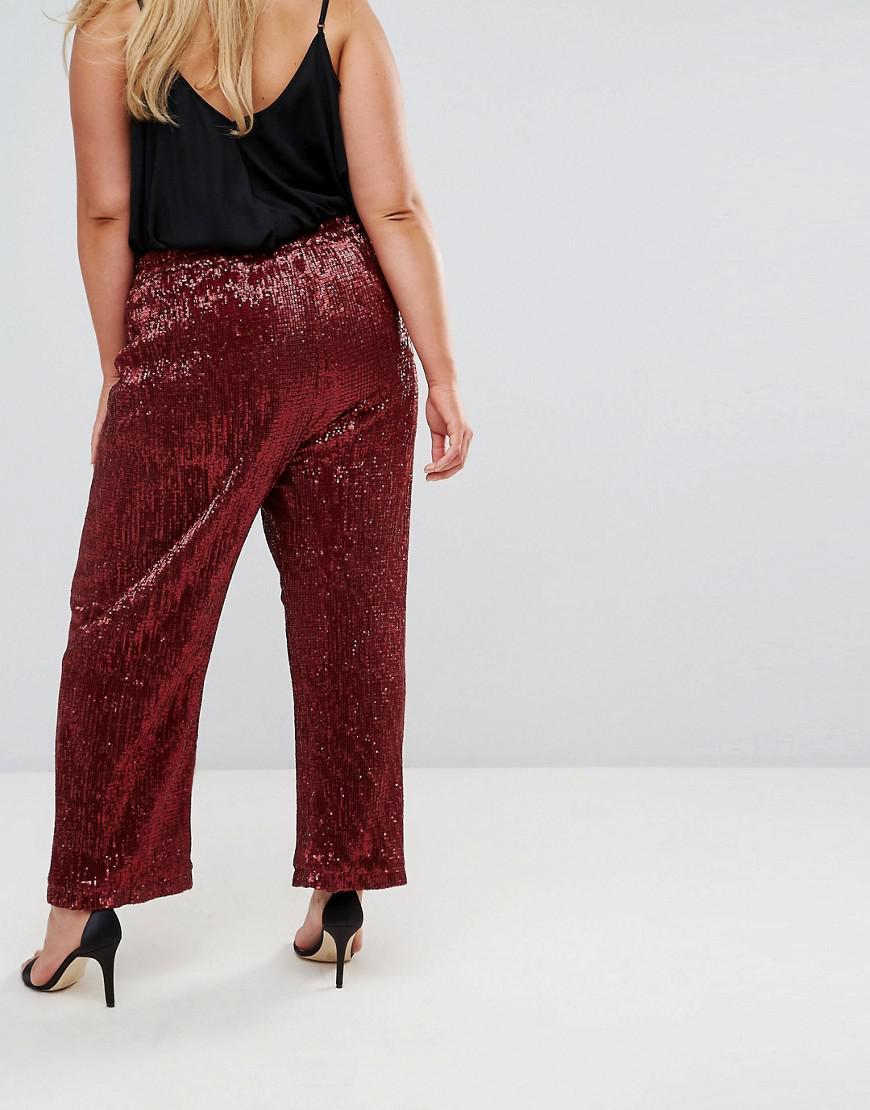 e1c3c0d2e88 Elvi Allover Premium Sequin Wide Leg Pants in Red - Lyst
