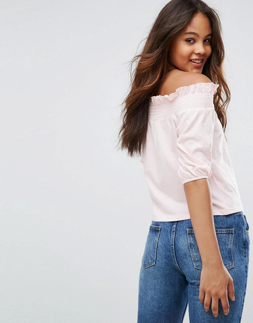 a4afdf531fd ASOS Top With Off Shoulder And Balloon Sleeve in Pink - Lyst