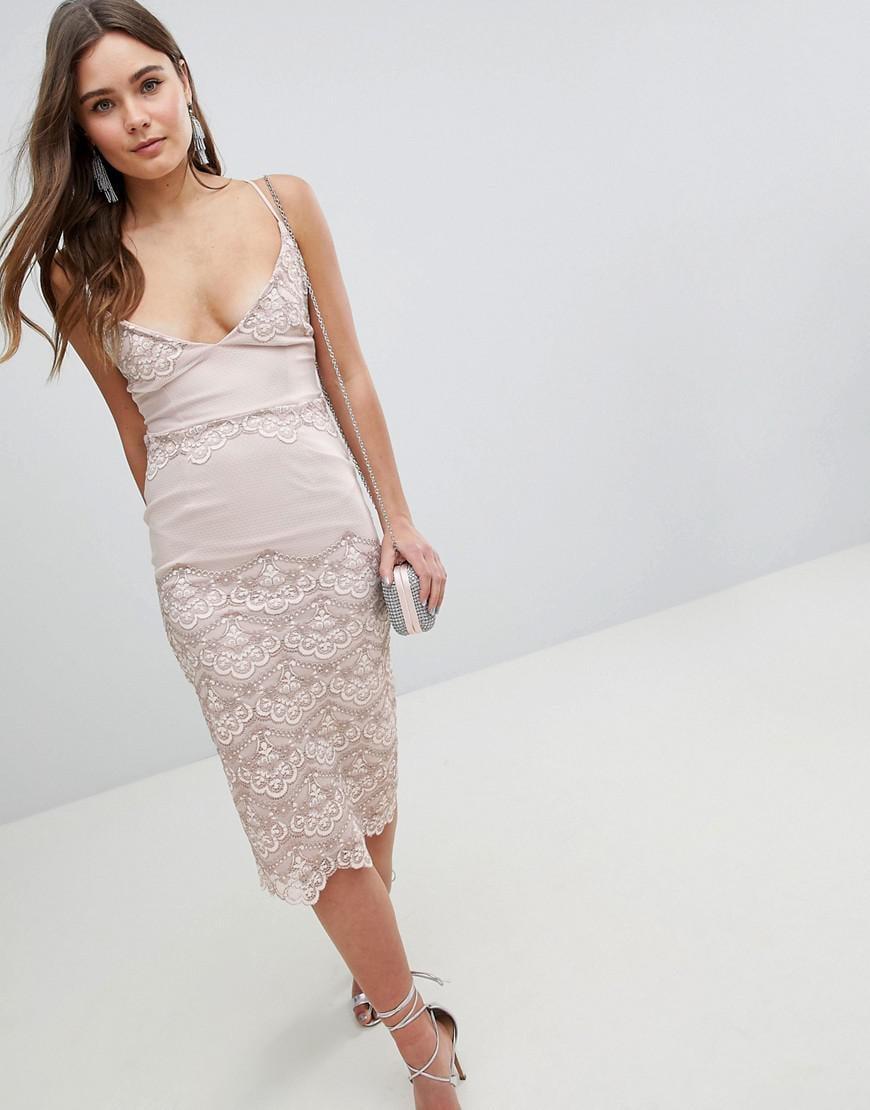 ea900345c21e ASOS. Women s Asos Delicate Placement Lace Cami Midi Pencil Dress