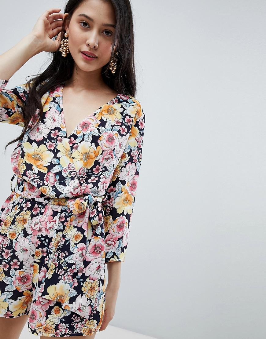 d79b3f468182 Lyst - Oh My Love Wrap Front 3 4 Sleeve Playsuit In Floral Print