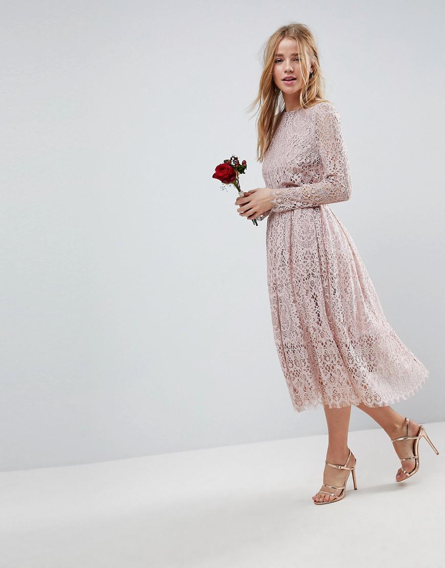 Lyst Asos Design Bridesmaid Lace Long Sleeve Midi Prom