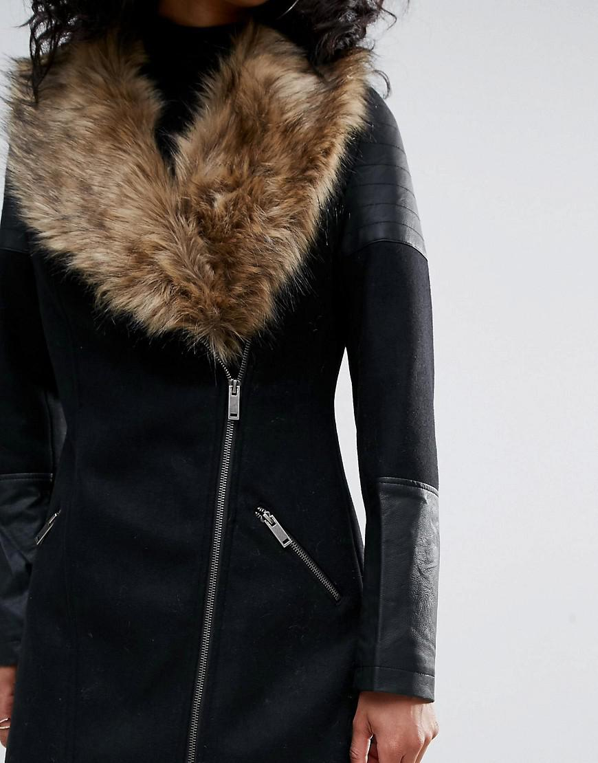 2a0eaaf24 Women's Black Coat With Asymetric Zip And Faux Fur Collar