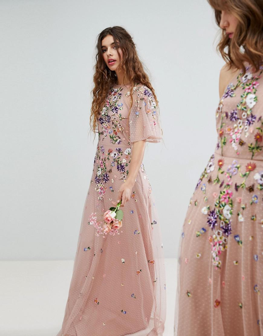Asos Chiffon Floral Embroidered Dobby Mesh Flutter Sleeve