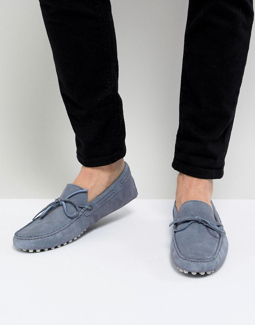DESIGN Loafers In Blue Suede With Snaffle - Blue Asos G71qv3vl