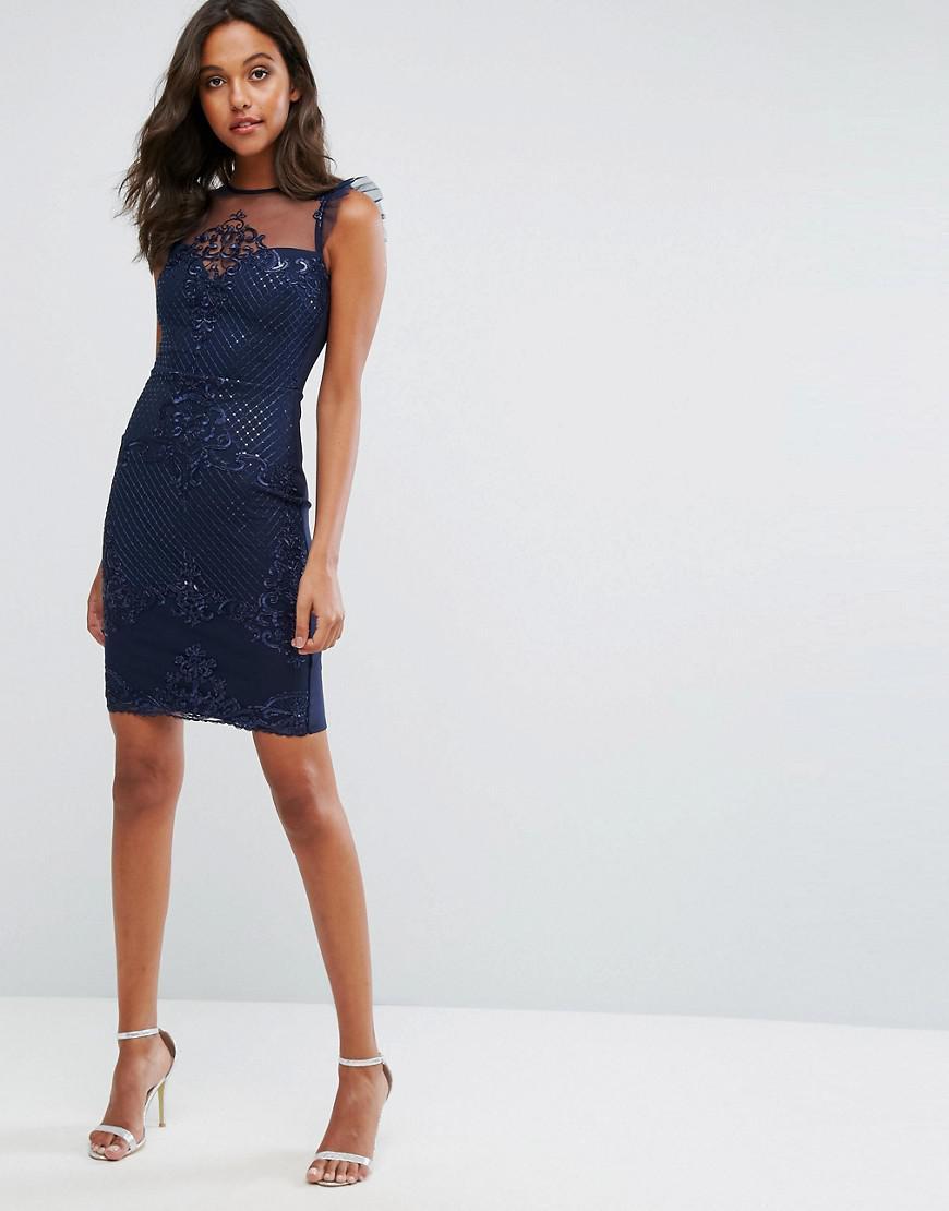 Lipsy Michelle Keegan Love Sequin Frill Lace Bodycon Dress