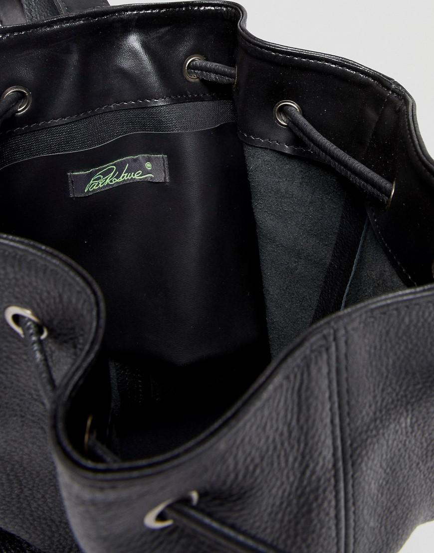 Real Leather Western Buckle Backpack - Black Park Lane qfdMw