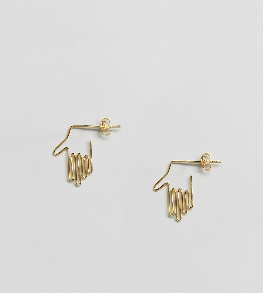 Hand Stud Earrings - Gold Asos pv8YX