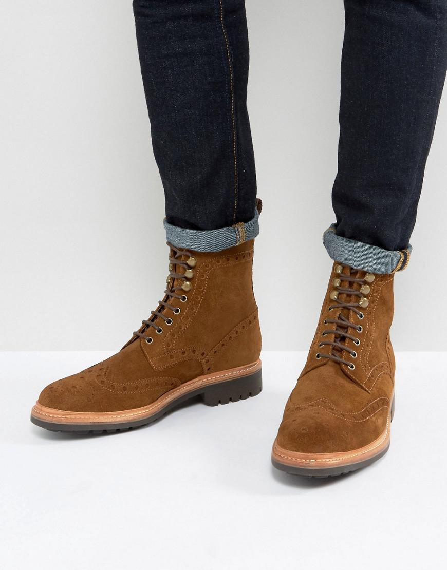 Grenson Fred Suede Brogue Boots in