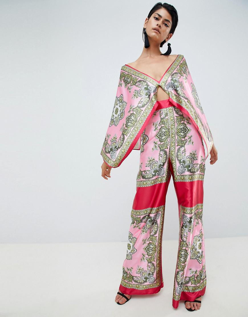 3d2fb192bf9 Lyst - ASOS Tile Print Draped Sleeve Jumpsuit in Pink