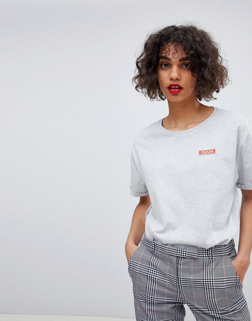 2c05bb944 HUGO Reverse Logo Embroidered T-shirt in Gray - Lyst